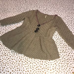 Free People Peplum Chunky Knit Cardigan wool blend